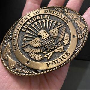 Vintage Police Belt Buckle USA New oval gold black